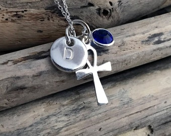 Sterling Silver Ankh Pendant Necklace, Tiny Silver Ankh Necklace, Sterling Silver Ankh Charm on a Delicate Sterling Silver Chain EGP026