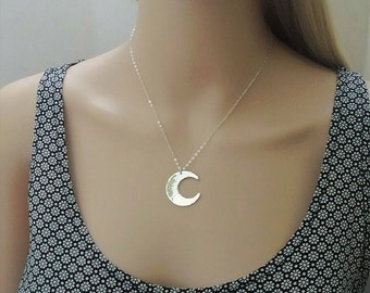Sterling silver hammered moon necklace; cresent moon necklace; silver moon necklace; big moon necklace; necklace sterling silver
