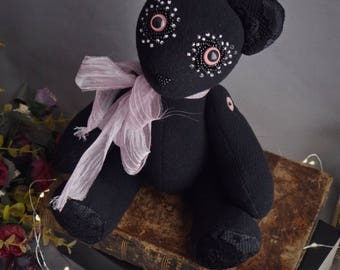 Black articulated teddy bear soft toy. Ecofriendly, made with upcycled materials. Gothic art bear.