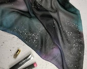 Custom order for K Wight. Dark Galaxy scarf in blue, grey and purple. 74cm square. Hand painted 100% silk. Made to order.