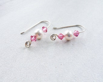 Pink crystal dangle, Valentines Day gift for her, Simple pink earrings, Pink Swarovski earrings, Silver crystal dangle, Pink pearl earrings