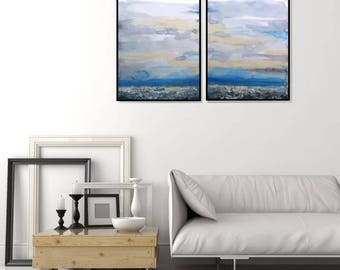 Original Abstract Acrylic And Watercolor Painting, Blue Abstract Seascape, Original Wall Art, Foyer Art, Bedroom, Dining Room Art, Wall Art