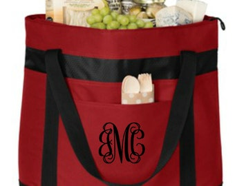 Large Insulated Cooler Tote - Monogrammed. Monogrammed Cooler. Heat Sealed Water Resistant Lining. Beach Cooler.  Beach Tote. SM-BG527