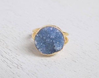 Blue Druzy Ring, Crystal Ring, Large Gemstone Ring, Gold Drussy Ring, Boho Ring, Adjustable Ring, Statement Ring, Mothers Day Gift, D2-39