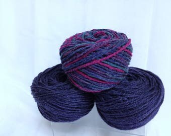 Chunky Art Yarn Cakes Deep Denim Blue Purple & Variegated Chunky Yarn for Fiber Art Projects Crocheting or Knitting Thick Winter Accessories