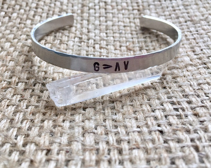 God is Greater than the Highs and Lows Cuff, Silver God Cuff, God Cuff Bracelet, Bible Quote Cuff, Engraved God Cuff, Religious Bracelet
