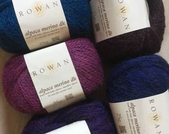 New Stock Rowan ALPACA MERINO DK 7.99 +1.25ea to Ship Violet 105, Peacock 107, Indigo 108, Purple 110, Brown 111 +Free Patterns Msrp 10.95