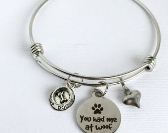 Dog Charm Bangle, You Had Me at Woof, Dog Lover Gift, Dog Charm Bracelet, Dog Lover Jewelry