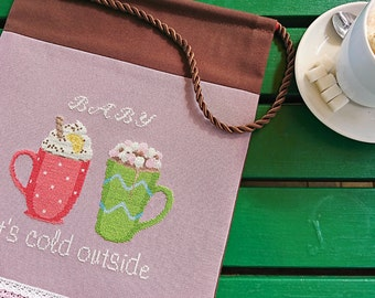 Christmas banner wall hanging cross stitch Christmas sign Baby it's cold outside cafe decor winter gift kitchen wall art Coffee cup decor