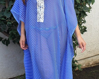 Beach coverups, Butter chiffon, Beach kaftan, long beach coverup, swimsuit Coverups, boho print,Handmade,tunic,Honeymoon, Vacation, blue
