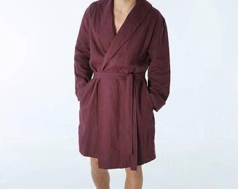 Linen bathrobe. Mens linen bathrobe. Dressing gown for men. Natural bathrobe. House coat. Mens robe. Flax robe. Linen gown. Gift for him