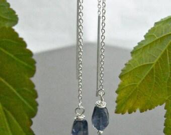 Silver Chain Earrings, Iolite Earrings, Iolite Dangle Earrings, Threader Chain Earrings, Silver Dangle Earrings, Long Drop Gemstone Earrings