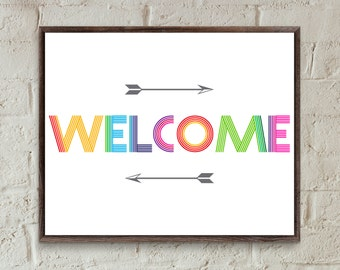 Welcome sign for front door,welcome print,welcome sign baby shower,rainbow room decor kids room sign,entryway wall art,home decor prinable