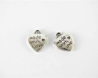 10 pcs metal charms made with love charm silver heart charm 10x12 small charms hemp craft jewelry charms hand made charms made with love tag