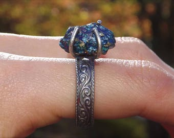 SALE Peacock Ore Ring - Raw Peacock Ore - Sterling Silver Chalcopyrite Ring - Size 8 Sterling Raw Stone Ring Oxidized