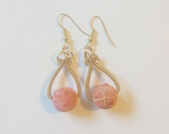 Sponge Coral Wire Wrapped Earrings