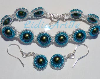 Swarovski pearl beaded bracelet and earrings,925 sterling silver,party bracelet,unique jewelry set,jewellery set