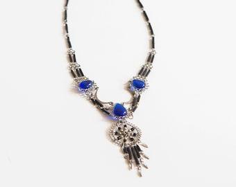 Sapphire dreamcatcher necklace
