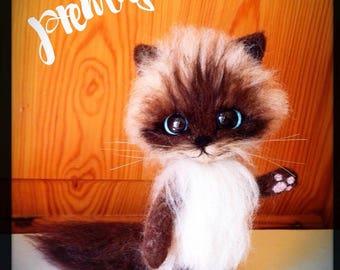 Needle felted cat, needle felt cat, needle felted animal, best friend gift, cats, needle felted kitten, felted cat, funny figurine, felt cat