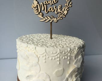 Rustic wedding cake topper Mr and mrs topper Glitter name cake topper Rustic wedding decor