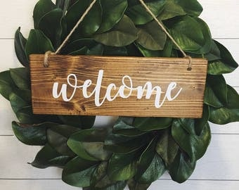 Welcome Sign | Welcome Wreath Sign | Welcome Wood Sign | Front Porch Sign | Southern Decor | Entry Door Sign |