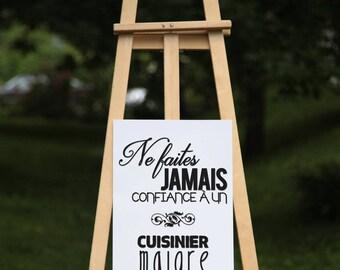 Ne faites jamais confiance à un cuisinier maigre - Black vinyl on poster paper or textured paper