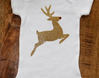 Christmas Onesie - Glitter Rudolph - FREE SHIPPING
