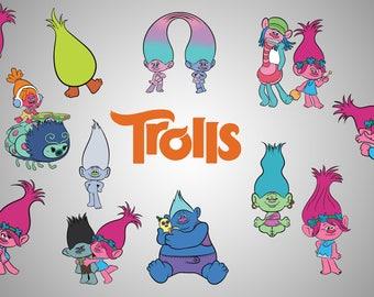 Trolls clip art/ Trolls clipart / Trolls png 300 ppi / Trolls wall print / Trolls design / Trolls printable / Trolls decal