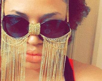 Gold Chained Burning Man Glasses, Burning Man Mask, Festival Glasses, Gold Sunglasses
