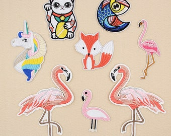Patch,Embroidered Applique,animals Patch,flamingos Patch,cats patch,unicorn patch, fox patch,phone case patch