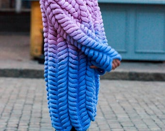 Cardigan Chinchilla Lalo gradient purple blue, Knitted Cardigan, Knit Oversized Cardigan, Chunky knit cardigan, Chunky Knitted Coat