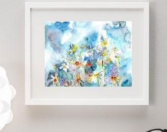 Print daisy,blue font,flowers,quarrel,print,print,veto motif,modern,digital, picture, watercolor flowers, watercolor print, instant download