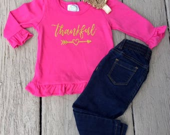 Girls Thankful Shirt