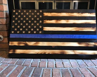 Thin Blue Line US Flag (Wooden)