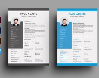 Clean Resume and Cover Letter | Instant Download | Resume Template Word  | CV Template | Resume Template Professional