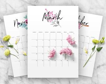 2018 Floral Calender Printable, Calender Planner, Yearly Planner Calendar, Monthly Calendar, A4, Letter Size, Instant Download, Modern