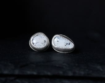 READY TO SHIP - White Buffalo Turquoise Sterling Silver Earrings #008 | Decemer Birthstone | Studs Post | Gugma Women's Minimalist Jewelry