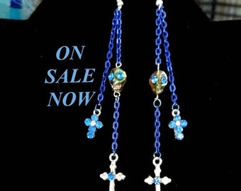 Skull and Crosses all with Rhinestones Long blue aluminum chain