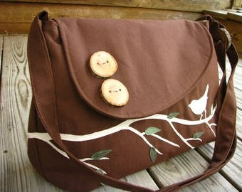Laptop Vegan Bag, Nature Tote, Laptop Crossbody Bag, Vegan Purse, Bird Bag, Eco-Friendly Nature Messenger, Ultra Suede Applique