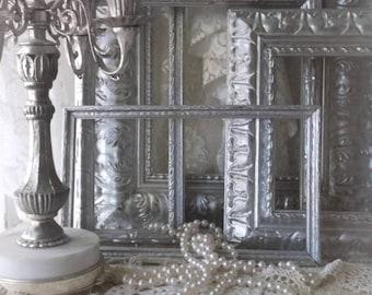 French Farmhouse Holiday Wall Frames. Antique Silver Ornate Baroque Winter Wedding Decor Frames. Portrait Victorian Gothic Frames.
