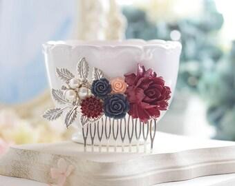 Burgundy Dark Red Navy Blue Blush Pink Silver Hair Comb, Silver Bridal Hair Comb, Marsala Maroon Floral Wedding Hair Comb, Bridal Hairpiece
