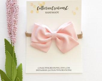 Blush Bow Headband - Blush Pink Folded Sailor Bow - Nylon Headband or Clip - Blush Sailor Bow Headband - Blush Clip Bows - Blush Baby Bows