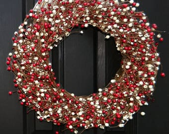Berry Christmas Wreath - Holiday Wreath - Red and White Wreath - Christmas Door Wreath
