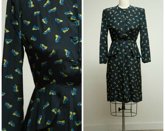 Vintage 1940s Dress • Indulge in Beauty • Navy Blue and Yellow Bow Print Silk 40s Dress with Peplum Size Medium