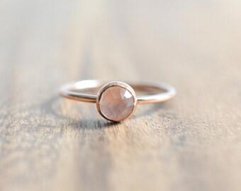 14K Rose Gold Filled Rose Quartz Ring // Rose Cut Rose Quartz Ring // Rose Gold Ring // Faceted Rose Quartz Stacking Ring // Gift for Her