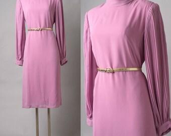 Vintage Dress, 80s dress, Vintage Pink Dress, Mauve Pink Dress, Vintage Secretary Dress,Vintage formal dress,Pink Mauve dress, pleated dress