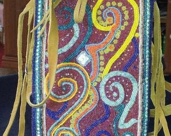 One of a kind, Hand made Native American Indian beaded purse, two sided fully beaded purse