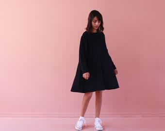 Black loose dress, oversize dress, minimalist dress,  oversize tunic,knee length dress,black tent dress, short black dress, casual dress