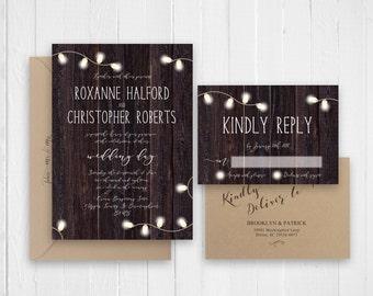 Rustic Wedding Invitation, Wood Wedding Invitation Country Wedding  Invitation Set   SC331