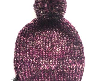 Handknitted pink and purple classic toque, big XL yarn pompom hat for child, teenagers and women, knitted pink hat made of wool and acrylic